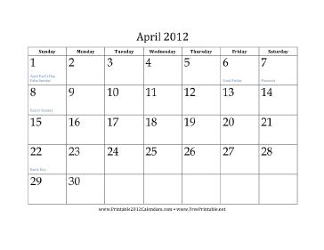 April 2012 Calendar Calendar