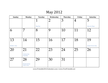 printable may 2012 calendar this free printable calendar for may 2012 ...
