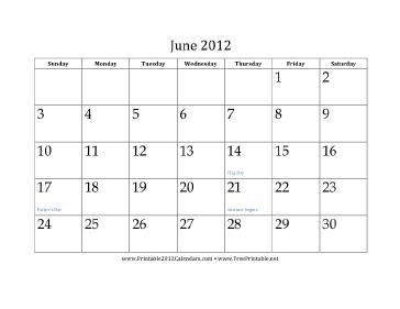 June 2012 Calendar Calendar