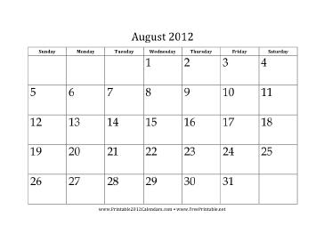 August 2012 Calendar Calendar