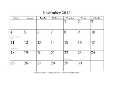 November 2012 Calendar Calendar