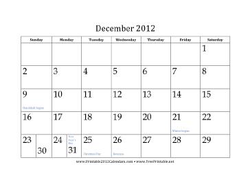 December 2012 Calendar Calendar