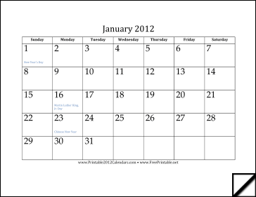 2012 Calendar (12 pages) Calendar