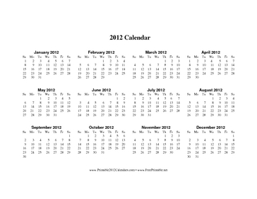 2012 Calendar on one page (horizontal) Calendar