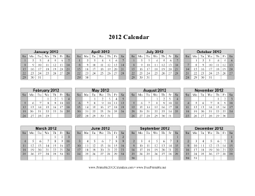 2012 Calendar on one page (horizontal, shaded weekends) Calendar