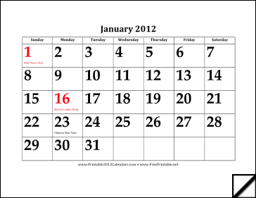 2012 Calendar with Large Dates Calendar