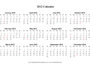 Single page (horizontal, descending, holidays in red)